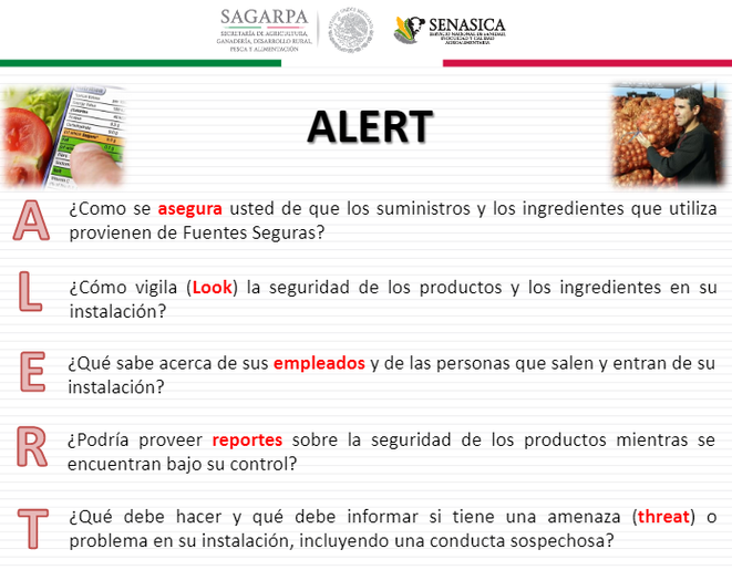 Alertas y requisitos de información para diseñar un plan food defense.
