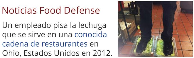 Noticias food defense ataque - trabajador.