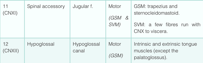 cranial nerve function table