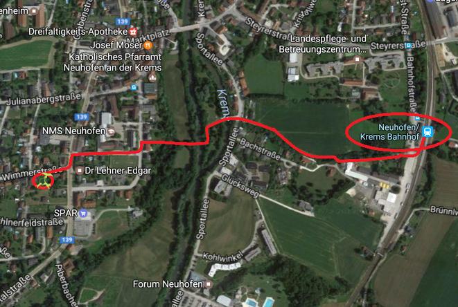 Fußweg Bahnhof Neuhofen an der Krems zu Hundeschule Animal Train, Linz Land, Neuhofen an der Krems