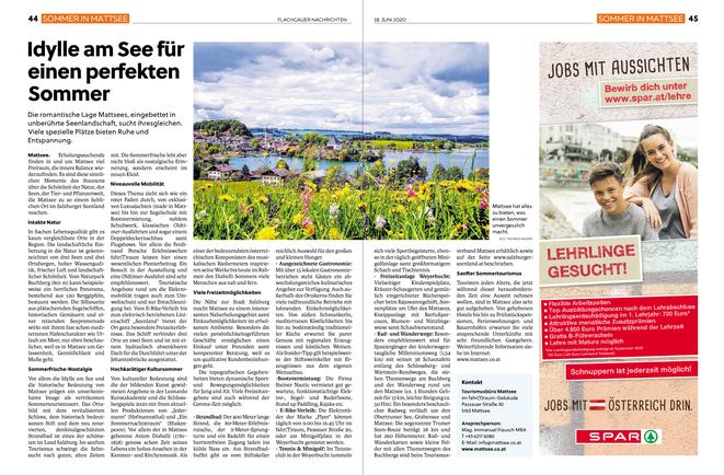 """PR """"Sommer in Mattsee"""" vom Tourismusverband Mattsee, unterstützt von Gemeinde und Ortsmarketing"""