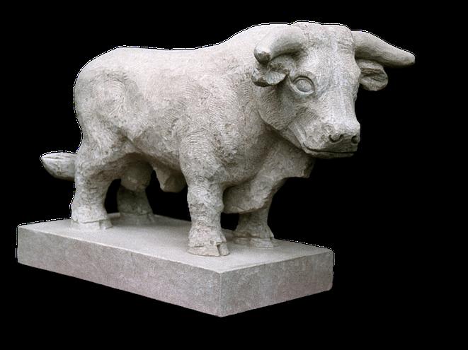 Stier aus Sandstein. Steinerner Stier. Taurus. Stierskulptur. Ochse aus Stein. Stier aus Stein von Gunter Schmidt Bildhauer. richtig schöne kraftvoll ausgestalltete Skulptur eines Stieres.