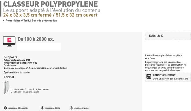 Classeur polypropylène