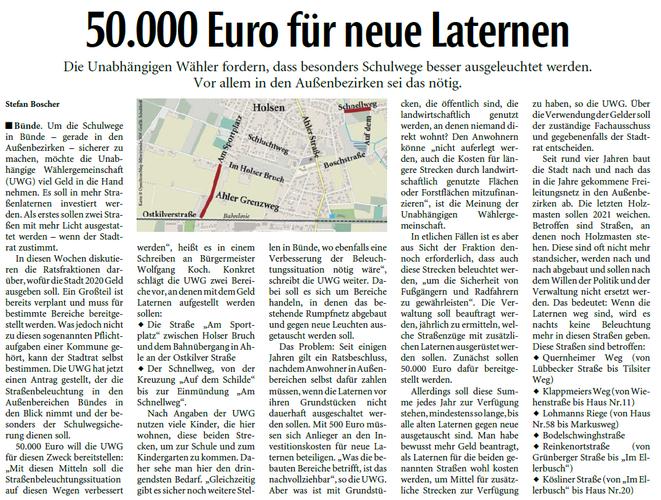 Mit freundlicher Genehmigung der Neuen Westfälischen (Artikel vom 28.01.2020)