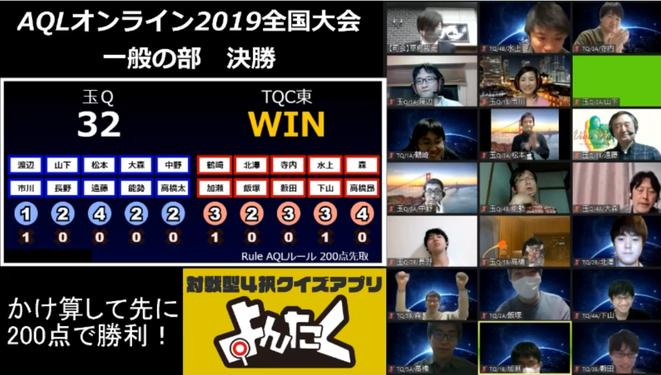 一般の部は「銀河系軍団」TQC東東京がAQL2019との連覇を達成。「(相手チームにも見える)チャット欄で作戦や声掛け」という新たな戦法を駆使しつつ、全員一丸となって戦いました。