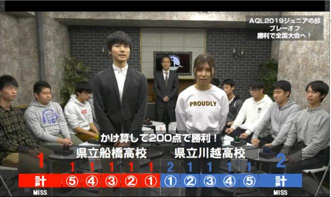 AQL2019事前番組プレーオフ「県立船橋vs県立川越」の様子。こちらでもご協力いただいた高橋太郎さん(写真中央左)に、今回も司会を務めていただきます