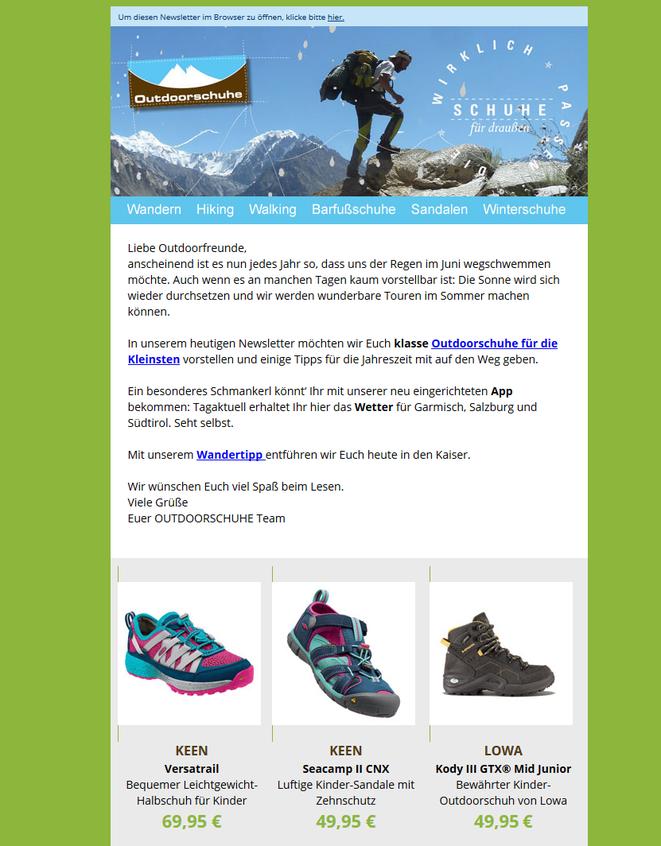 Newsletter Outdoorschuhe München, 2013 - 2016