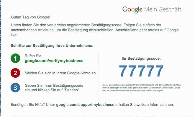 Google Mein Geschäft Bestätigungscode