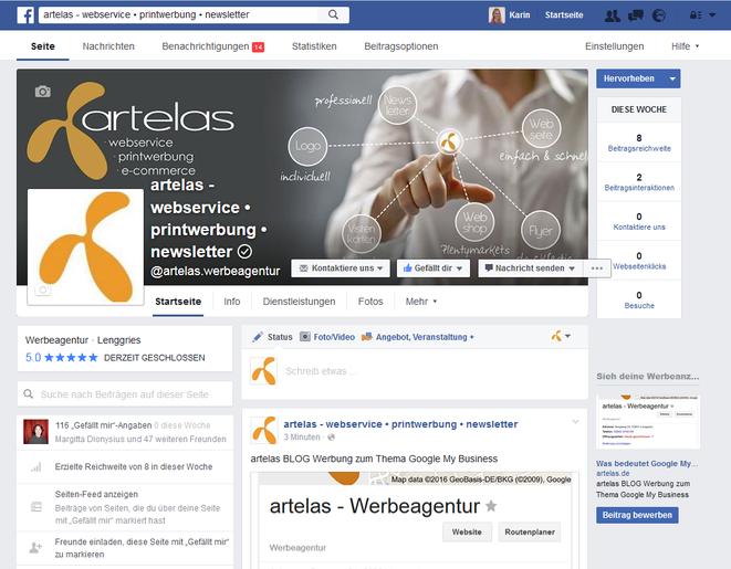 Facebook-Unternehmensseite der artelas Werbeagentur