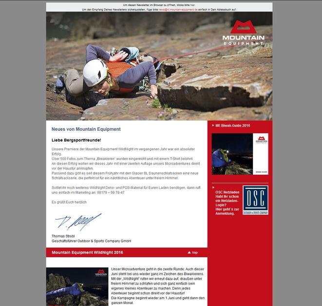 Newsletter Mountain Equipment Deutschland, 2009 - 2016