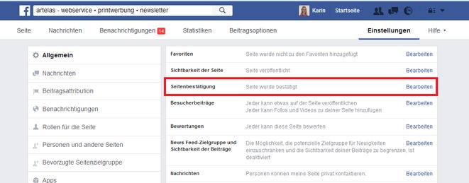 """Facebook Einstellungen """"Seitenbestätigung"""""""