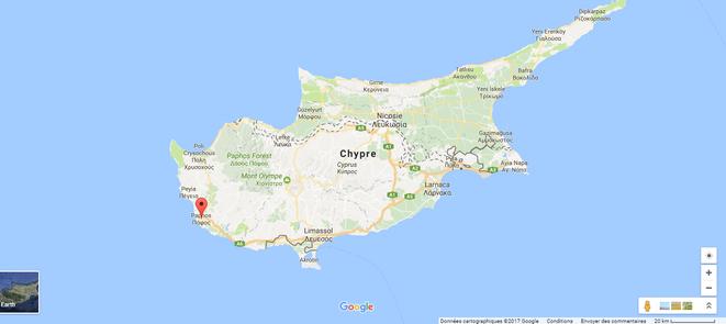 Localisation de Paphos, sur l'île de Chypre