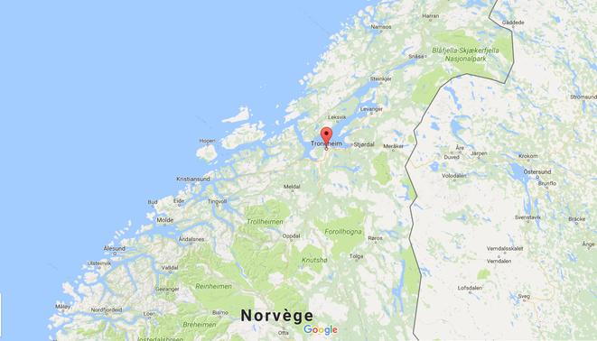 Localisation de Trondheim, en Norvège. Crédit : Google Maps