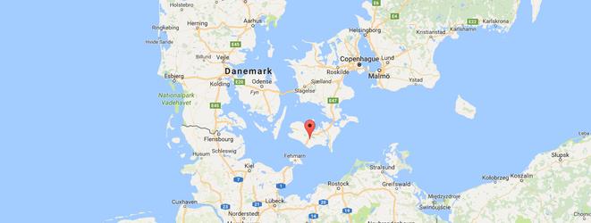 L'île de Lolland au Danemark. Crédit : Google Maps