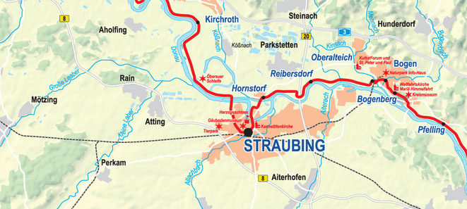 Vergrößerbare Karte: Etappe Kirchroth bis Bogen
