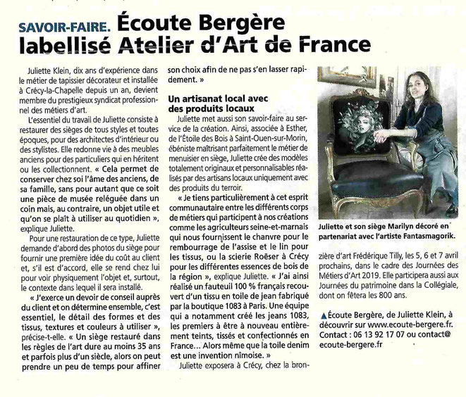 Article du journal la Marne 20/02/2019- Juliette Klein artisan d'art, son entreprise Ecoute Bergère labellisée Ateliers d'Art de France