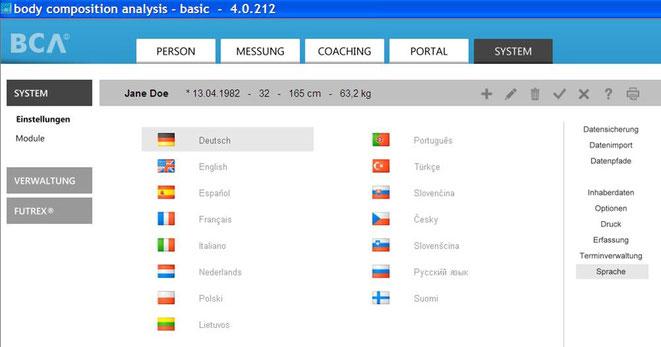 Erweiterter Sprachen-Bereich