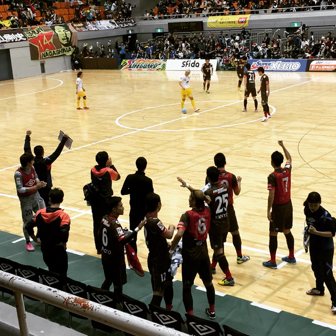 """High Five !"" after getting a goal by Tokyo Fuchu Athletic F.C. Fuchu municipal general gymnasium sport futsal f-league attraction entertainment event Western Tokyo Tama Tourism Promotion - Visit Tama"