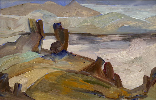 «Зима. Серебристые горы», 40х60 холст, масло