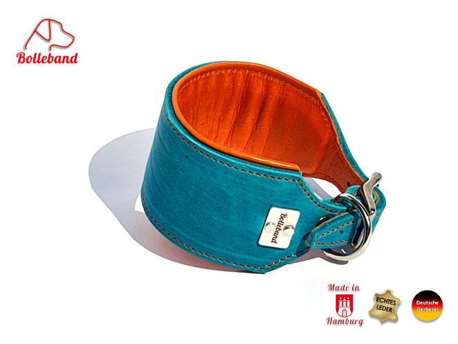 Windhundhalsband Leder in türkis mit orangenem Futterleder und eingearbeitetem Polster und Edelstahlverschluß Bolleband