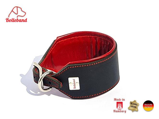 Windhundhalsband Leder 6,5 cm breit mit Polsterung und rotem Futterleder und Edelstahlverschluß Bolleband