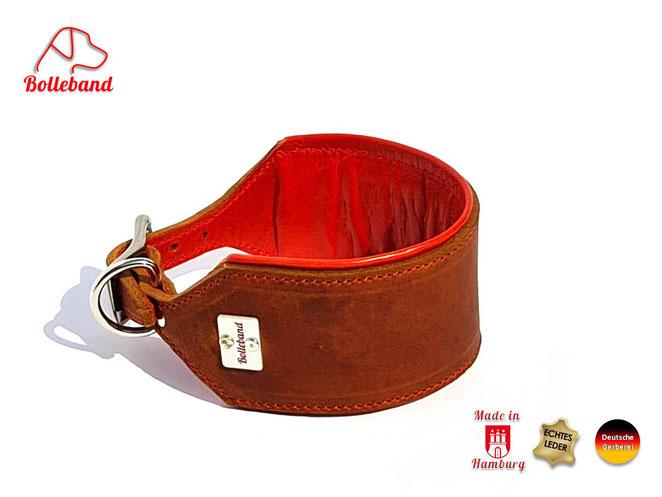 Windhundhalsband Leder 6 cm breit cognac mit Polsterung und Futter in orange genäht Edelstahlverschluß