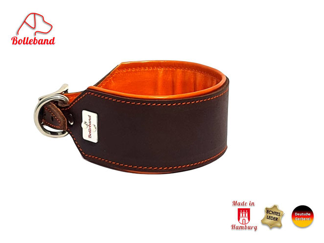 Windhundhalsband Leder braun orange gepolstert Handarbeit Bolleband