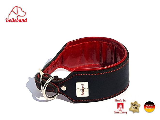 Windhundhalsband Leder gepolstert schwarz rot rote Naht weich Handarbeit Bolleband