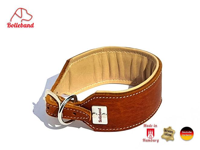 Windhundhalsband 4,5 cm breit Leder in cognac und cremefarbenen Futterleder gepolstert Edelstahlverschluß