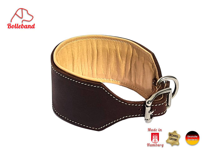 Lederhalsband Windhund 6 cm breit braun creme abgenäht mit Polsterin creme Bolleband