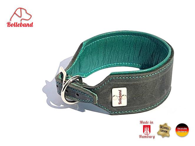 Windhundhalsband Fettleder grau mit Polsterung und einem Futterleder in türkis 4,5 cm breit handgearbeitet Bolleband