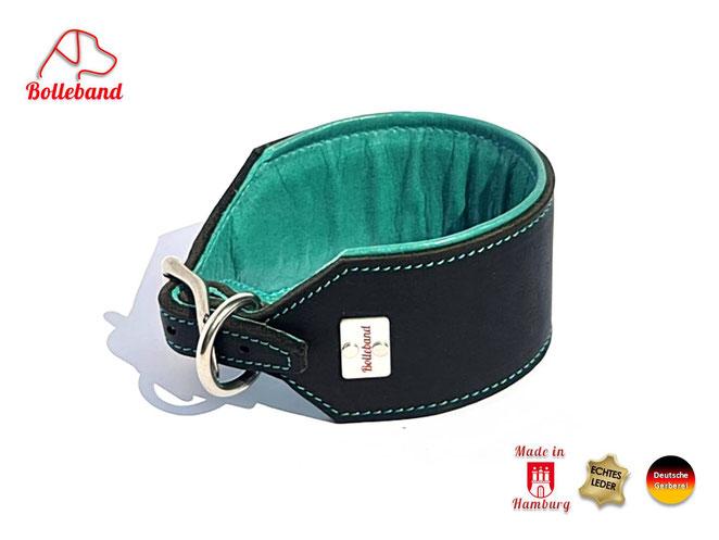 Windhundlederhalsband schwarz mit Polster und Futterleder in türkis mit Edelstahlverschluß Bolleband