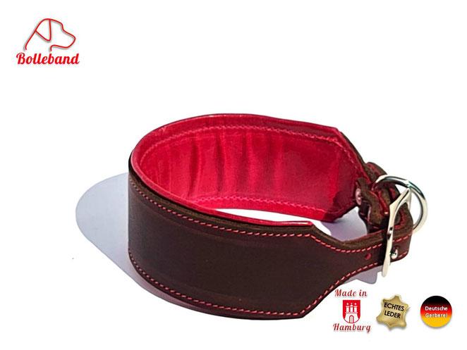 Windhundhalsband Leder 4,5 cm breit braun pink gepolstert abgenäht Handarbeit Bolleband