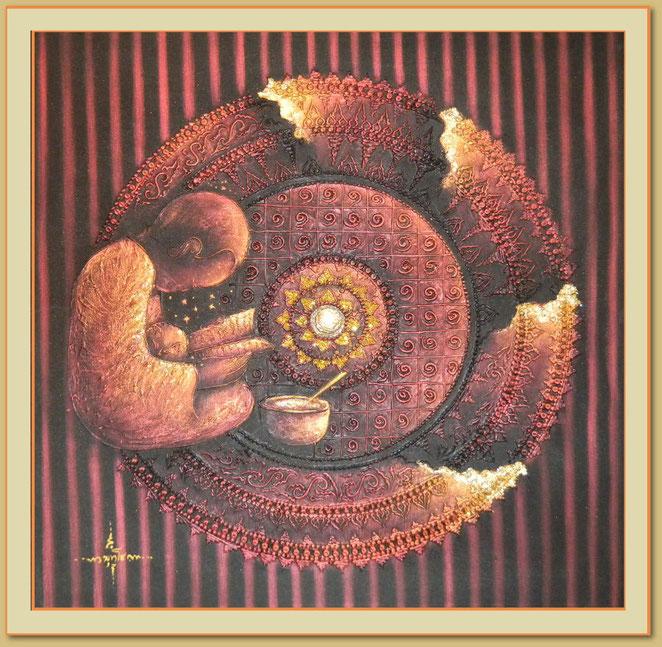 Das Foto dieses Gemäldes zeigt nicht die Brillanz des ganzen Kunstwerks, das mit Blattgold geschaffen wurde