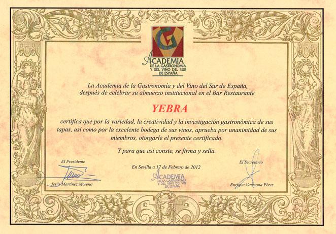 Título Academia de la Gastronomía y del Vino del SUR.