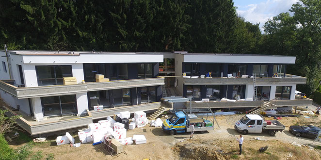 Fassadenvorderseite des Gebäudes am Himmelreichweg, Reiter-GmbH, energiebaumeister.at