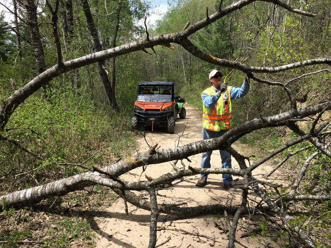 Twenty volunteer, DNR-certified Trail Ambassadors monitor State ATV Trails from May through October, visiting with riders, passing out reg books and maps, and keeping the trails safe for the riding public.