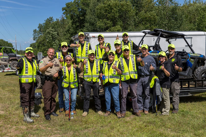 We partnered with the Cass County Sheriff's Dept to create a Search & Rescue ATV Team, assisting deputies with searches and at community events, and serving as Trail Ambassadors to monitor the Soo Line North ATV Trail near Remer.
