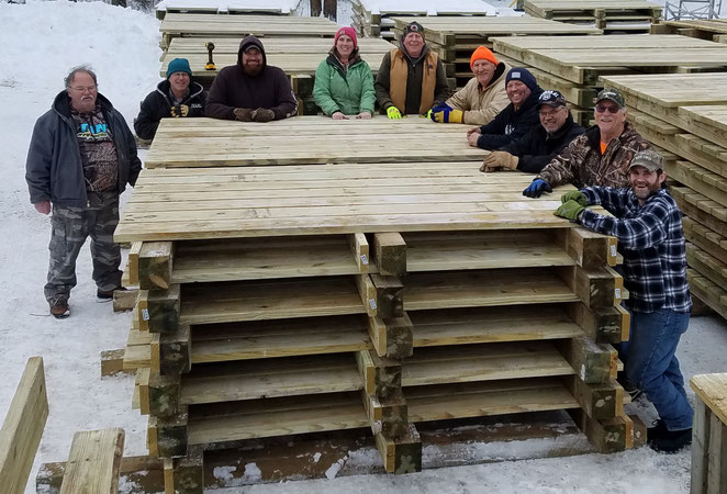 Our club volunteers to help other ATV clubs with trail projects. We helped the Over The Hills Gang ATV Club build 90 bridge sections for the new Emily-Outing Trail.