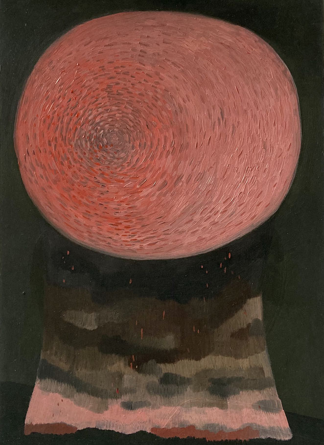 'pink moon' oil on paper 21 x 14,8 cm 2020