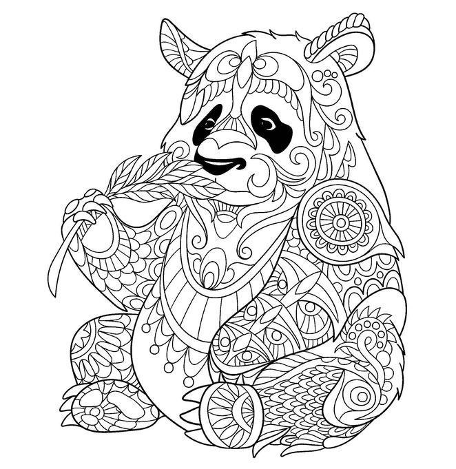 mandala de oso panda para imprimir