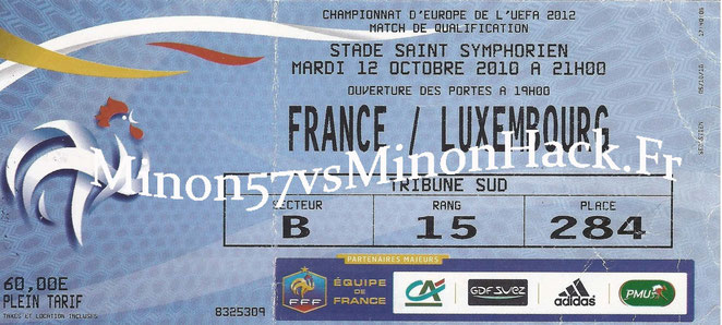 TICKET  France vs Luxembourg  2010