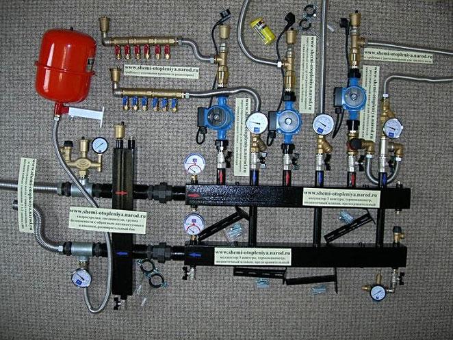 Схема системы отопления двухэтажного дома с теплыми полами