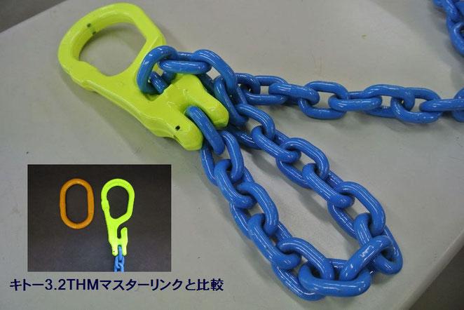 長さ調整機能付きチェーンスリング マスターリンクMGによる1本吊チェーン