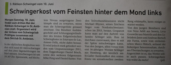 Vorschau Bericht Prättigauer & Herrschäftler vom 9.6.18
