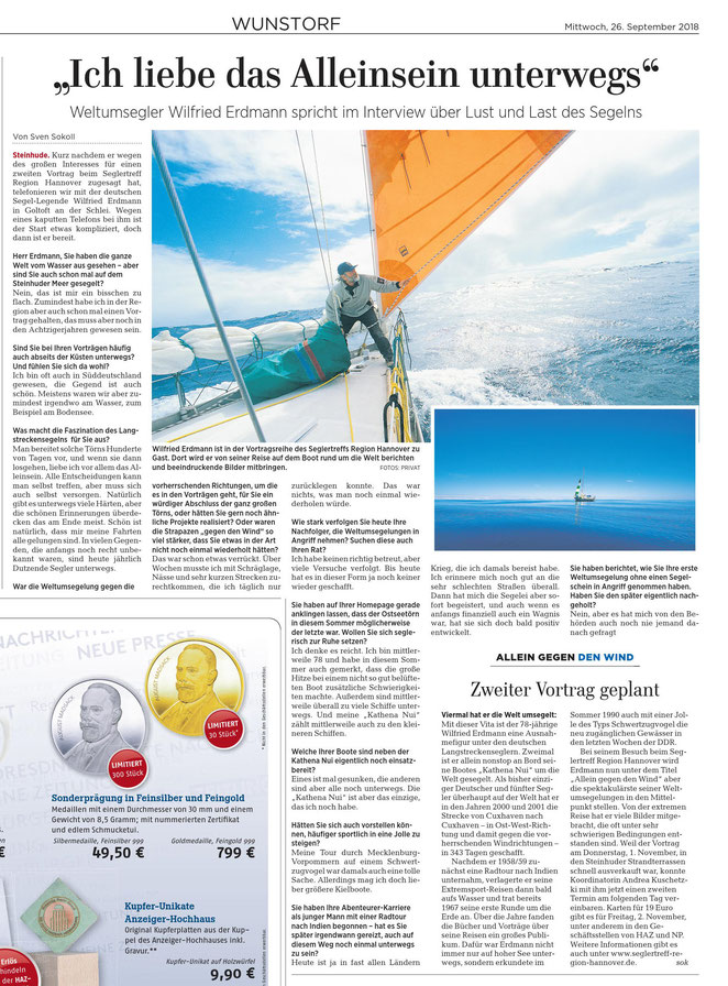 HAZ, Wunstorfer Teil, 26. September 2018, http://www.haz.de/Umland/Wunstorf/Weltumsegler-Wilfried-Erdmann-gibt-Interview-vor-Vortraegen-beim-Seglertreff-Region-Hannover