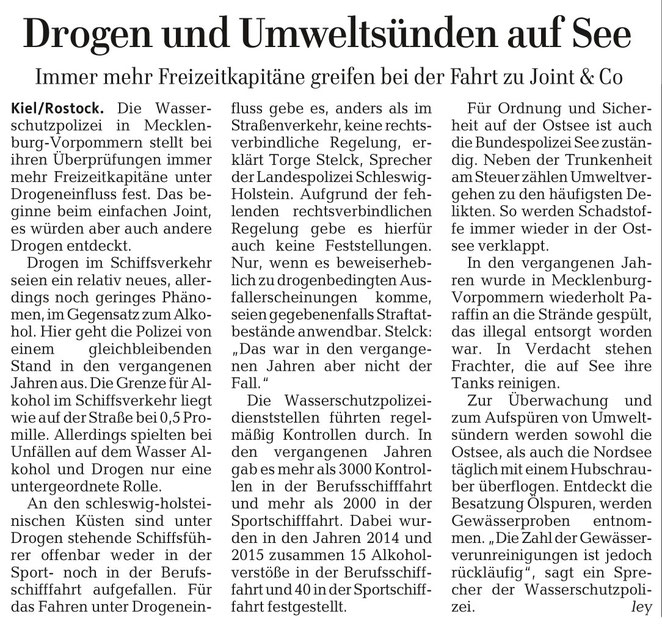 Lübecker Nachrichten, 2. Oktober 2016