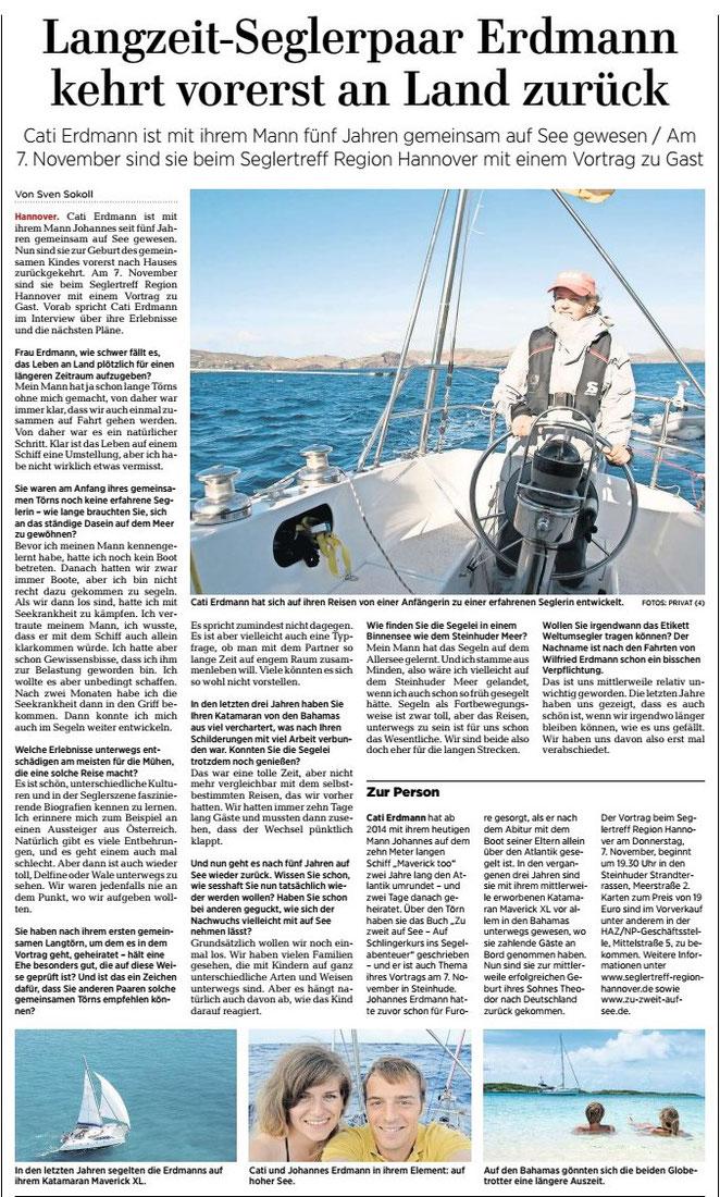 www.m.haz.de, erschienen in den Lokalteilen der HAZ Oktober 2019