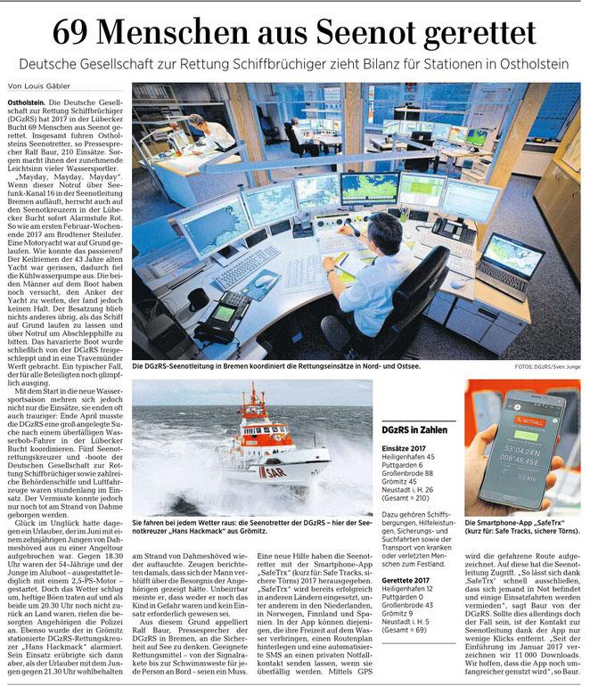 Lübecker Nachrichten, 24. Januar 2018