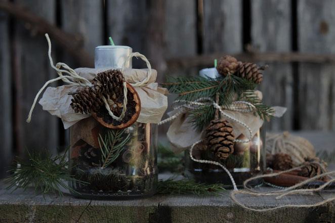 Kerzenständer selbstgemacht aus alten Gutekngläsern
